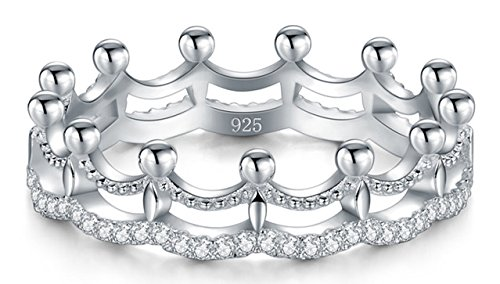 BORUO 925 Sterling Silver Ring, Cubic Zirconia Princess Crown Tiara Wedding Cz Band Eternity Ring Size 6 (Sterling Silver Crown)