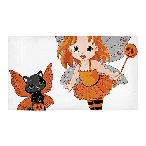 C COABALLA Halloween Rectangular Bath Rug,Halloween Baby Fairy and Her Cat in Costumes Butterflies Girls Kids Room Decor Decorative for Bathroom,28