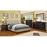 Furniture of America Perdella 4-piece Ivory Low Profile Bedroom Set Eastern King