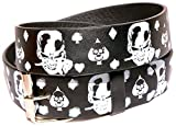 Search : Men's Women's Leather Tattoo Print Belt White & Black Skulls and Crossbones with Removable Snap Silver Buckle Biker Skateboarding Punk Rock Snap On Buckle New Design Great Gift Idea