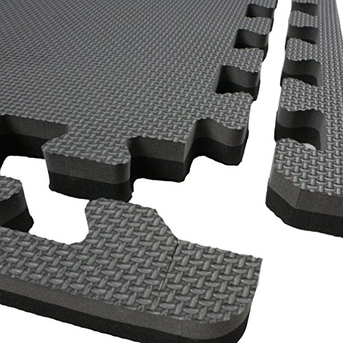 IncStores - Jumbo Soft Interlocking Foam Tiles (10 Tiles, Black/Grey) Perfect for Martial Arts, MMA, Lightweight Home Gyms, p90x, Gymnastics, Cardio, and Exercise by IncStores (Image #3)