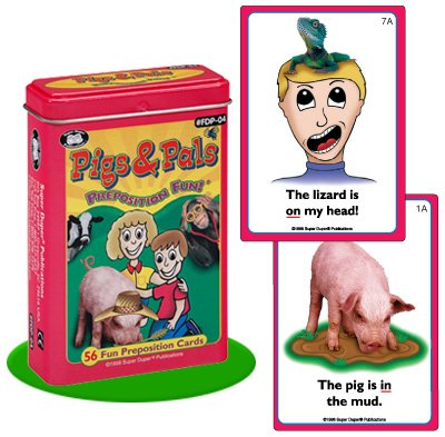 Super Duper Publications Pigs & Pals Preposition Fun Deck Flash Cards Educational Learning Resource for Children
