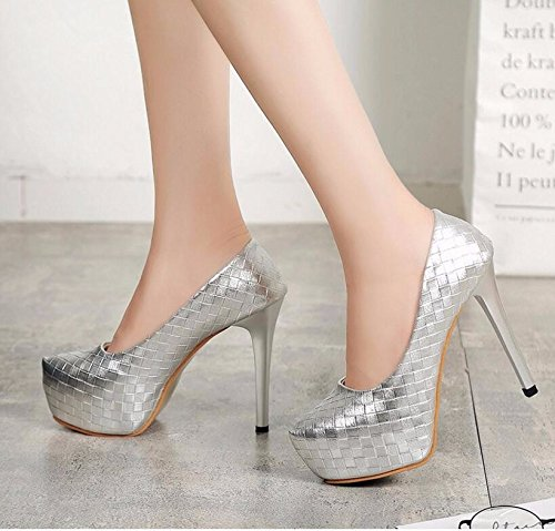KHSKX-Silver 12Cm In Light Of The High-Heel Shoes Simple And Thin With A Light-Sexy Waterproof Single Thin High-Heel Shoes Single Shoes 38 7H0SD