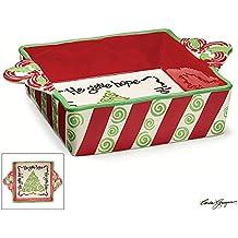 "Christmas Festive Red & Green Swirls Baking/Casserole Dish ""Jesus Gives"""
