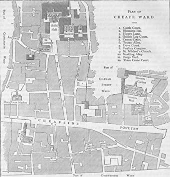 Amazoncom CHEAPSIDE Old Map Of The Ward Of Cheap About - Cheap vintage maps