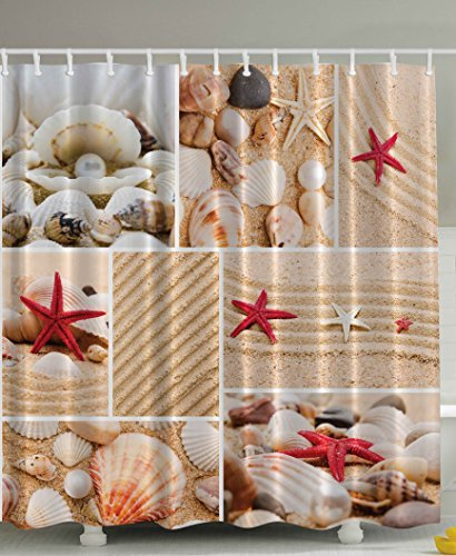 Ambesonne Seaside Decor Sea Star Sea Rock Limpet Honeymoon Bathroom Art Prints Beach Shell Photos Print Aquatic Deluxe Fabric Shower Curtain Burgundy Sand Khaki Cream (Rock Star Shower Curtain)
