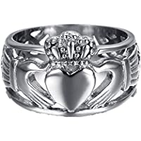 Chryssa Youree Jewelry Men's 15 MM Stainless Steel Crown Claddagh Ring with Celtic Knot Eternity Design 7 to 12 (FR-01)