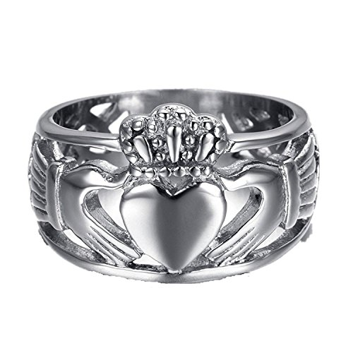 Chryssa Youree Jewelry Women Men's 15 MM Stainless Steel Crown Claddagh Ring with Celtic Knot Eternity Design 7 to 12 (FR-01) (Size 7)