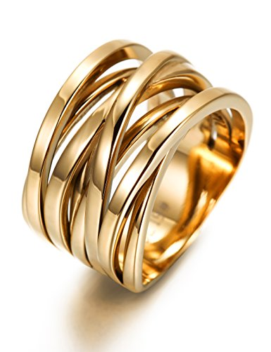 13.7MM Stainless Steel Cross Ring Women Girls Statement Cocktail Ring Jewelry Rose Gold/Gold (Gold Wide Band Ring)