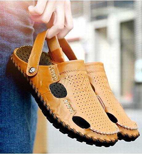 I sandali di cuoio di alta qualità selvaggia di nuovo modo di estate uomini i pistoni manuali di uso doppio di uso, giallo, UK = 7.5, EU = 41 1/3
