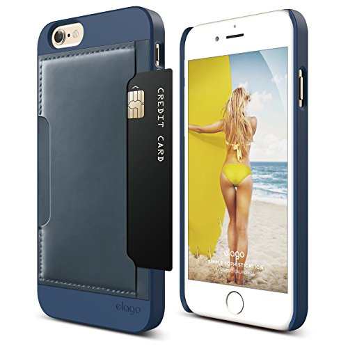 iPhone 6 Case, elago S6 Outfit [Genuine Leather Pocket Case] for the iPhone 6 (4.7inch) - eco friendly Retail Packaging (Outfit Pocket - Jean Indigo / Jean Indigo)