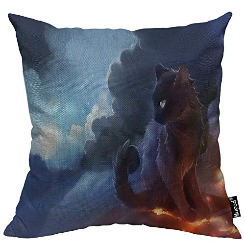 Mugod Warrior Cat Throw Pillow Cover Fantasy Sky Cloud Sun Grey Cat Mystical Space Light Decorative Pillow Cases Square Cotton Linen Cushion Cover for Home Bed Sofa Couch 18x18 Inch ()