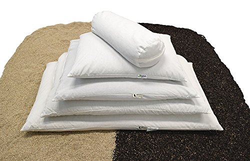 "Bean Products WheatDreamz Neck Roll Pillow - 6"" x 16"" - Cotton Zippered Shell with Organic Buckwheat Hull Filling - Made in USA"