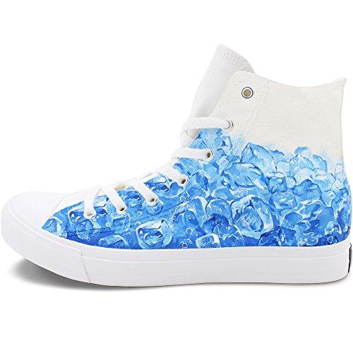 Price comparison product image Wen Fire Design Ice Cube Hand Painted High Top Shoes Unisex Canvas Sneakers