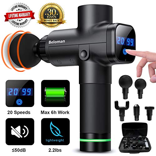 Massage Gun, Upgrade Professional Percussion Massage Gun for Athlete Recovery- Ultra Quiet 20 Speeds Powerful Deep Tissue Massager for Muscle Tension Relief with 6 Massage Heads