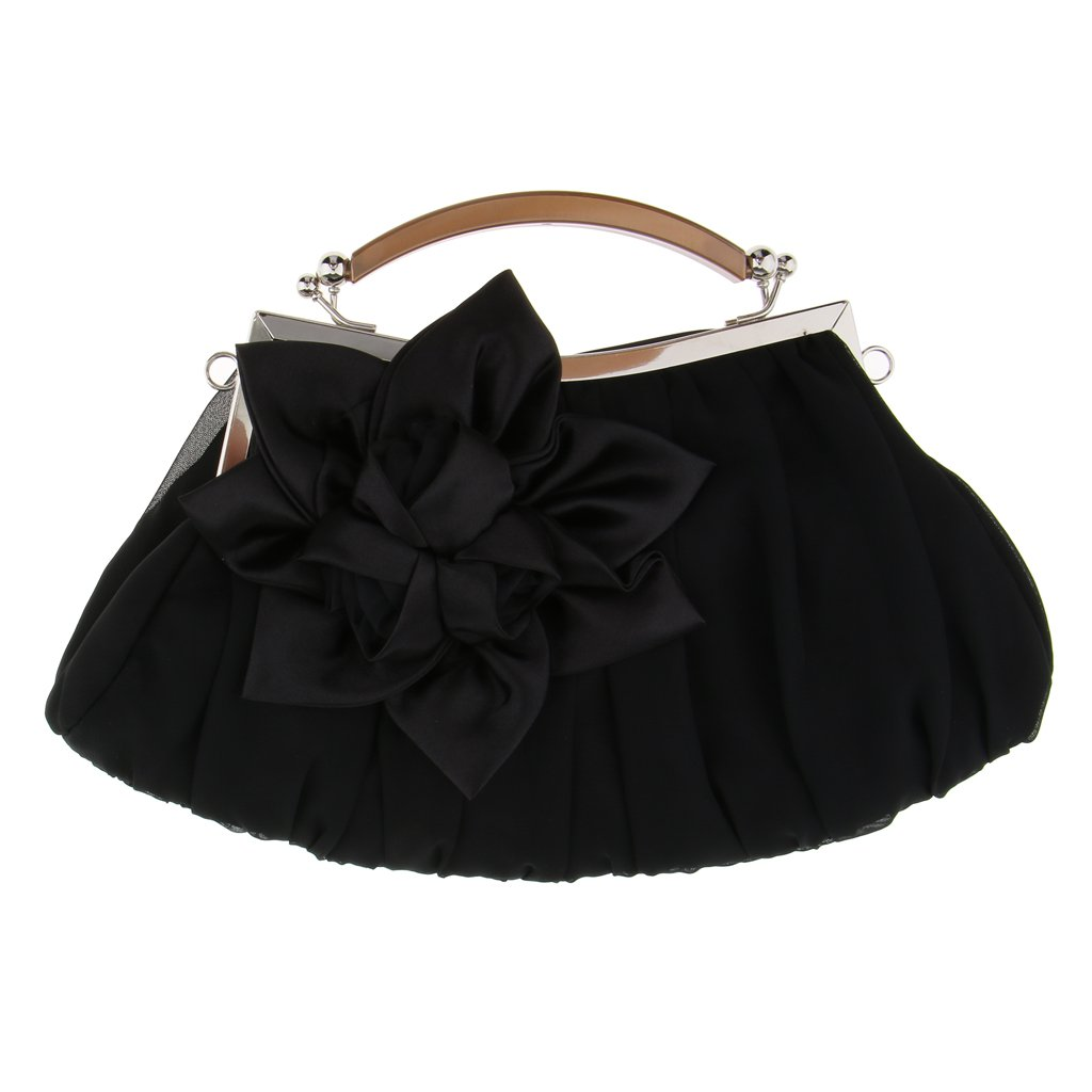 Fenteer Wedding Evening Handbag Flower Clutch Purse Shoulder Chain Bag Sweet Lover Gift - Black, as described