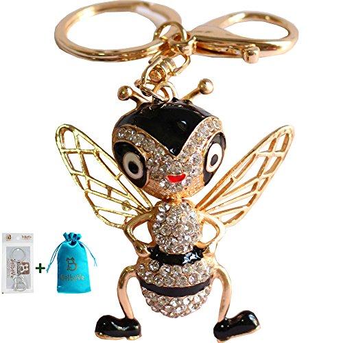 Bolbove Cool Bee with Big Eyes Keychain Crystal Keyring Rhinestones Purse Pendant Handbag Charm (Black)