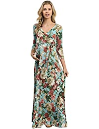 LaClef Women's Floral Print Draped 3/4 Sleeve Long Maxi...