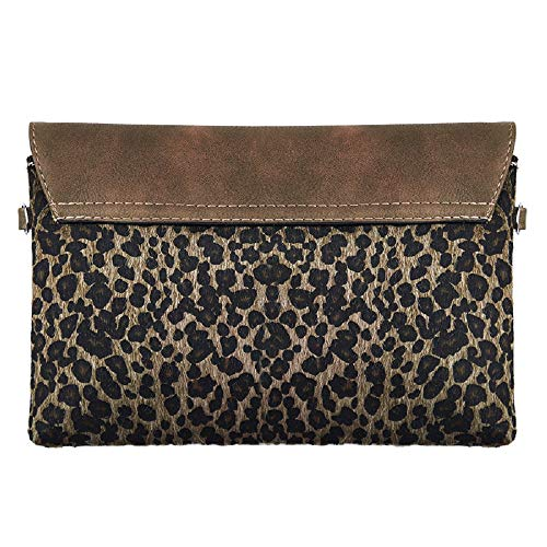 Sintética Marrón Piel Mujer Para Lilyrosa De Cartera Clutch Negro Oscuro Leopard S Mano wqxAYa1
