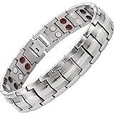 Dr. Kaoâ ® argento nero color titanio braccialetto terapia magnetica per uomo donna per dolore da artrite e tunnel carpale magnetico bracciale da uomo per uomo braccialetto magnetico per uomo