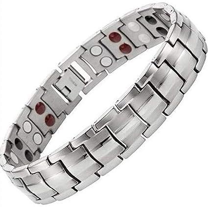 88629e42f431 Pulsera de terapia magnética de Dr. Kao de titanio de color negro y plata  para hombre y mujer, para artritis y tunel carpiano