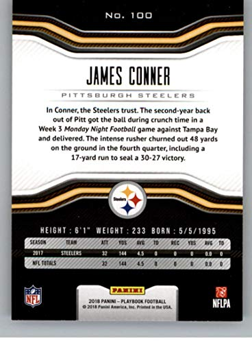c692b63fe83 Amazon.com  2018 Playbook Football  100 James Conner Pittsburgh Steelers  Official NFL Card Produced by Panini  Collectibles   Fine Art