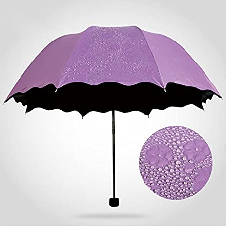 Super Sunscreen 3 Folding Vinyl Sun Umbrella Water Bloom Dual Magic Paraguas For Female (Purple