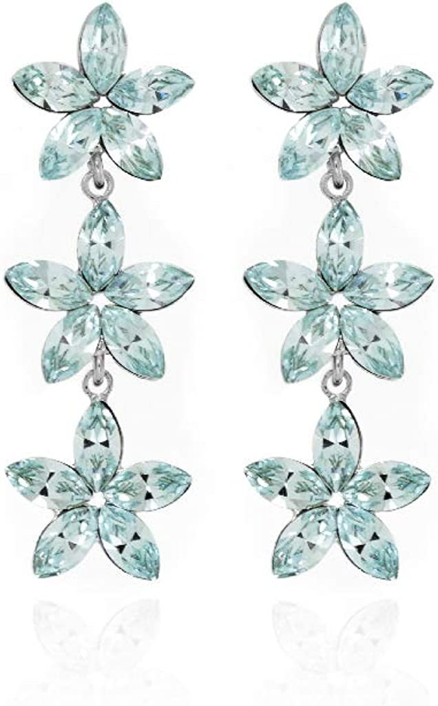 Pendientes Mujer Victoria Cruz Plata Cristal Swarovski Azul Flores Tamaño 12 x 35 mm