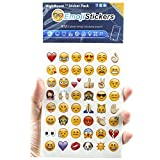 Emoji Stickers 19 Sheets Pack with Faces Icons Symbols from Instagram Facebook and Twitter - Blue