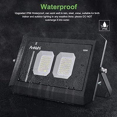 LED Flood Light Outdoor 100W, 10000lumen Soft White Glow 3000K, IP66 Waterproof Super Bright Security Lights, Outdoor Floodlight for Yard, Garden, Playground, Basketball Court