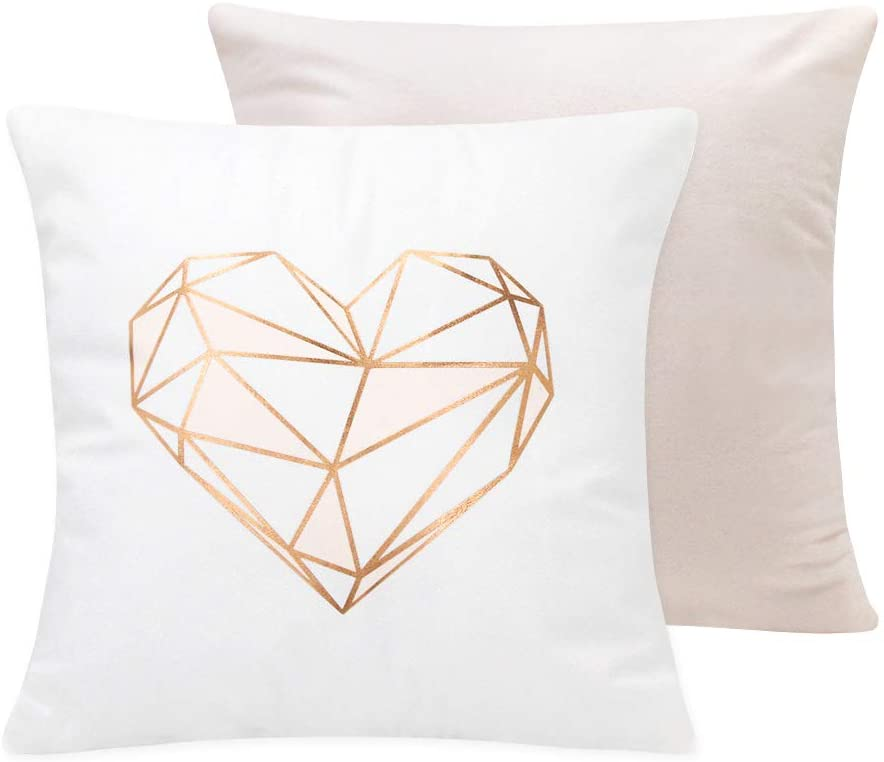 SUMGAR Throw Pillow Covers Pink Love Rose Gold White Pillowcase Silver Teen Girls Geometric Cushion Case for Sofa Couch Bed Living Room Bedroom Office Set of 2, 18 x 18 inch