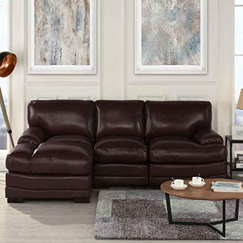 Brown Leather Sectional Sofa Couch