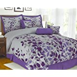 7-Pieces Purple Flocking Leaf Comforter Set Bed-in-a-bag King Size
