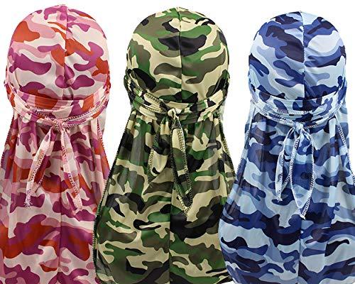 - YI HENG MEI 2PCS/3PCS Camouflage 360,540,720 Waves Long Tail Wide Straps Durag Bandana,Group 9(3pcs)