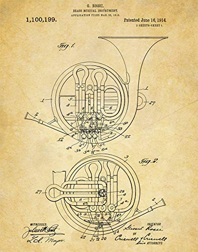 French Horn Patent Wall Art Print - one (11x14) Unframed - wall art decor for musicians (Deco French Horn)