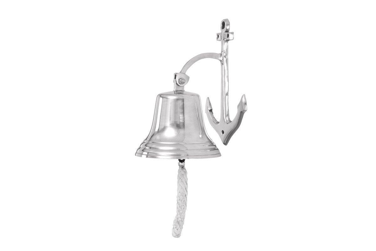 Deco 79 28301 Aluminum Wall Bell with Long Braided Lanyard Benzara AL 1880