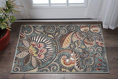 Giselle Transitional Floral Seafoam Scatter Mat Rug, 2' x 3'