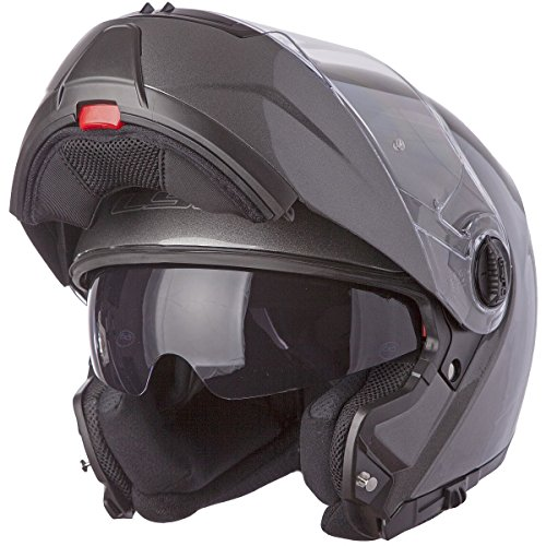 LS2 Helmets Strobe Solid Modular Motorcycle Helmet with Sunshield (Gunmetal, Medium)