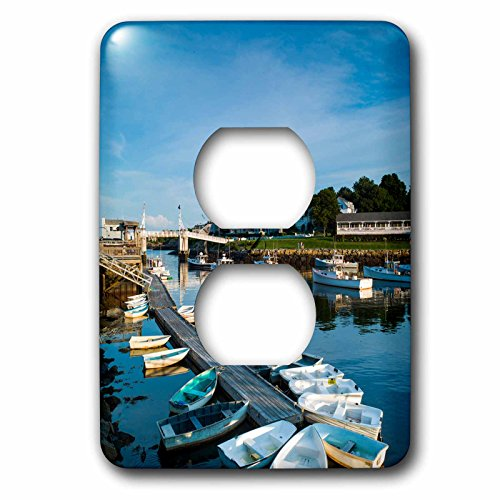 3dRose Danita Delimont - Maine - Maine, Ogunquit, Perkins Cove, boat harbor - Light Switch Covers - 2 plug outlet cover - Row Perkins