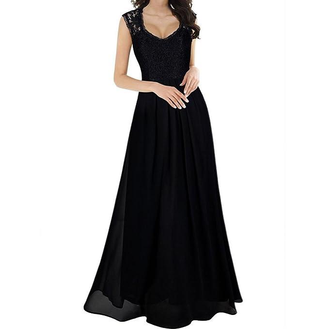 471b03a0a431 Longra Abito Lungo Senza Maniche In Chiffon Femminile Donna Elegante Vestiti  Da Matrimonio Pizzo Abito In