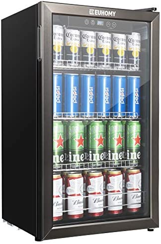 Euhomy Beverage Refrigerator and Cooler, 115-120 Can Mini refrigerator with Glass Door, Small Refrigerator with Adjustable Shelves for Soda Beer or Wine, Perfect for Home/Bar/Office, Black Stainless Steel