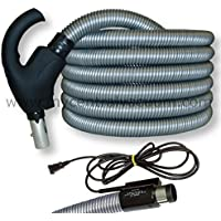 Electrified Comfort Grip Handle Pigtail Corded Central Vacuum Hose, 35 Foot, Recessed Mount