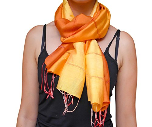 Unique Wrappable Silk Scarf. Handmade Blue Silk Scarves Wrap (Orange) ()