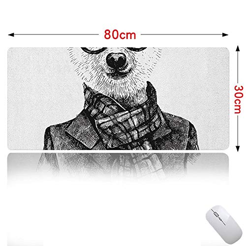 Animal Mouse pad Cute Hand Drawn Monochrome Sketch Style Hipster Bear with Jacket Scarf Glasses Ideal for Office Computer Black Grey and White 31×12in (Leather Fate Jacket)