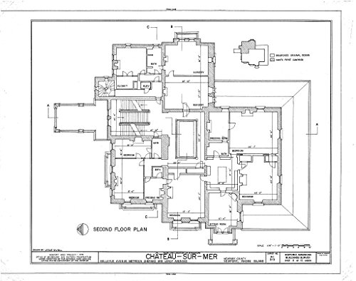 Historic Pictoric Blueprint Diagram HABS RI,3-NEWP,59- (Sheet 6 of 12) - Chateau-sur-Mer, Bellevue Avenue, Newport, Newport County, RI 44in x ()