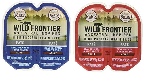 Nutro Wild Frontier High Protein Grain Free Pate Wet Cat Food, Chicken & Beef And Salmon & Trout, 2.65 Oz. (24 Twin Packs)