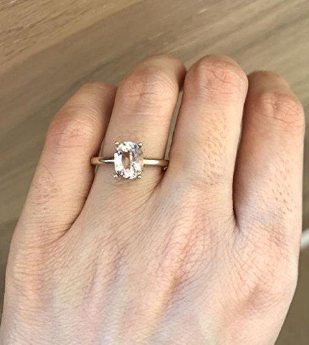 Amazoncom 18k White Gold Morganite Ring Prong Morganite