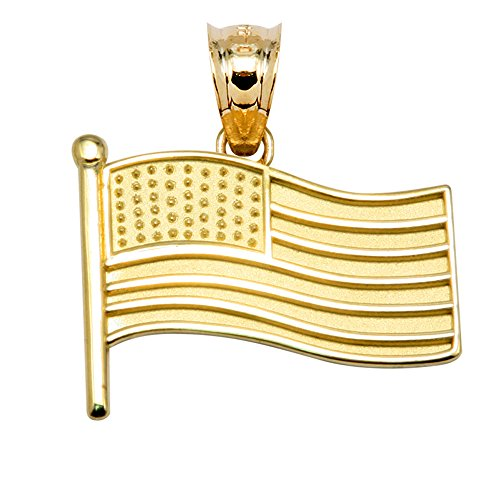 - 14k Yellow Gold American Flag Charm Pendant