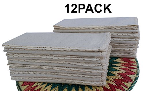 Flax Cotton Dinner Napkins with Lace .(20%Linen,80%Cotton) Size 20'x20' - Natural Color with Rustic Look Offered By Linen Clubs.( SET OF 12 PIECES)