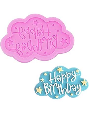 Molde de Silicona para Tartas, moldes para Fondant Patrón de Nube de Feliz cumpleaños para